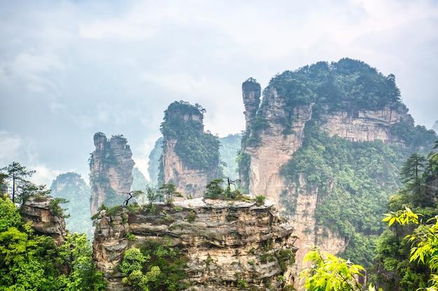 Zhangjiajie nationalpark. berühmte touristenattraktion in wulingyuan, hunan, china. erstaunliche natürliche landschaft mit steinsäulenquarzbergen im nebel und in den wolken