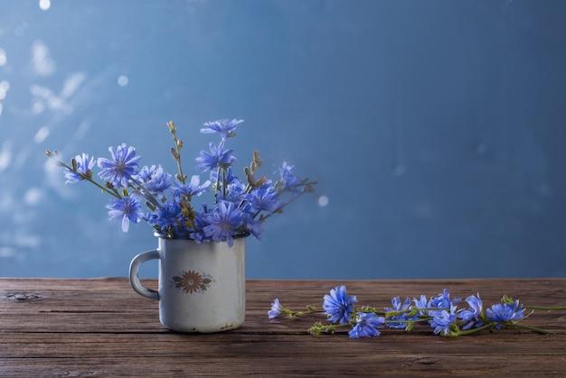 Zichorienblumen in der alten weinlesetasse auf blauem hintergrund