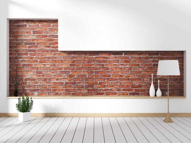 Ziegelmauer mit dekor mock up innenraum dekoration leeren raum. 3d-rendering