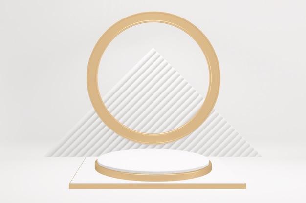 Ziehen sie gold und weiß podium minimale design-produktszene auf weißem hintergrund. 3d-rendering