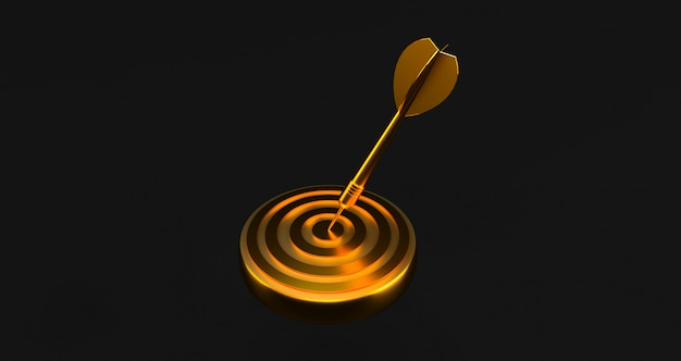 Ziel mit einem pfeil in der mitte. konzept der objektiven erreichung. goldenes ziel