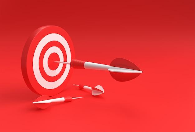 Ziel mit pfeil 3d auf rot isoliertem design für sportspiel und business design.