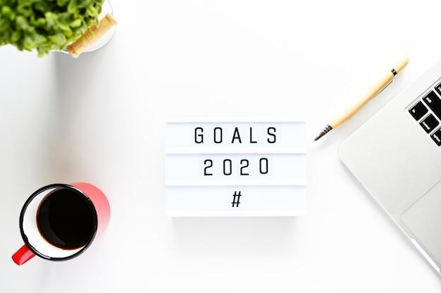 Ziele 2020 business concept, ansicht von oben