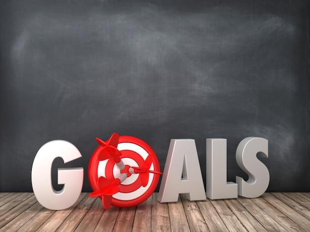 Ziele 3d-wort mit ziel auf tafelhintergrund
