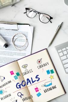 Ziele business-investitionsplan-diagramm-konzept