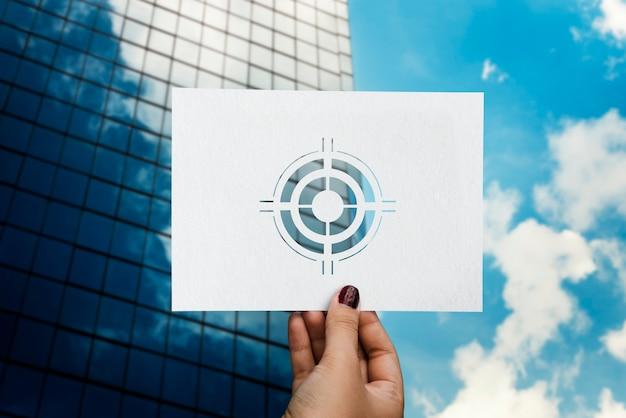Ziele zielen auf aspiration perforiertes papier bullauge