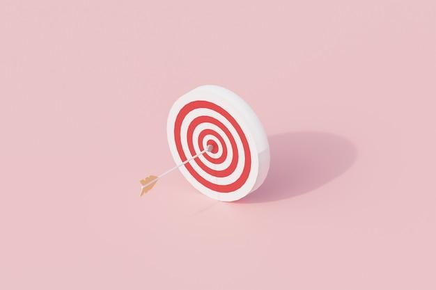Zielsymbol mit pfeil einzelnes isoliertes objekt. 3d-rendering
