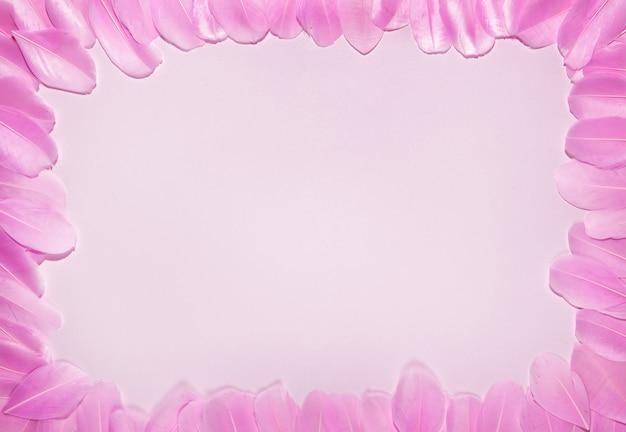 Zierliche weibliche karte mit rosa federgrenze