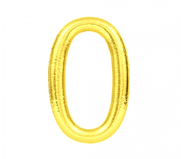 Ziffer 0, goldener ballon nr. null lokalisiert auf weißem hintergrund, wiedergabe 3d