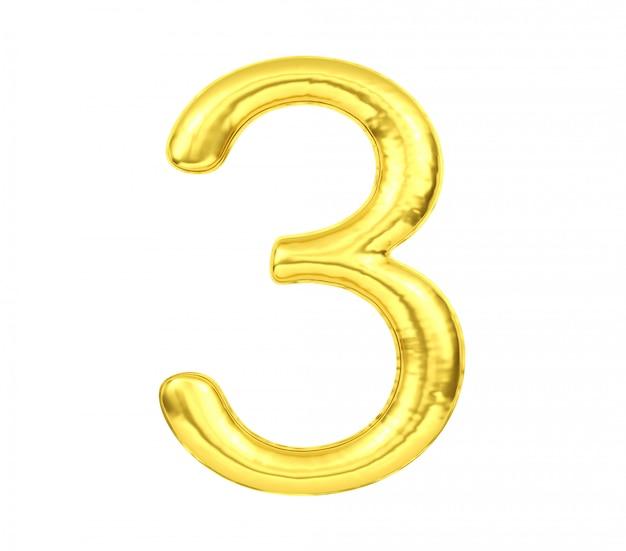 Ziffer 3, goldener ballon nr. drei lokalisiert auf weißem hintergrund, wiedergabe 3d