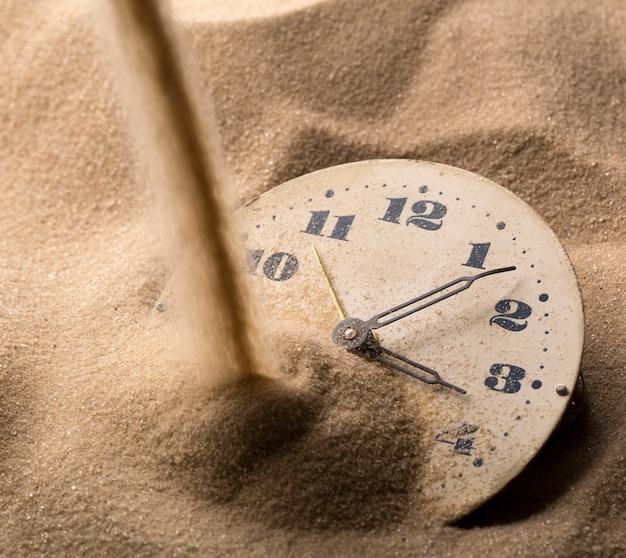 Zifferblatt der uhr im sand