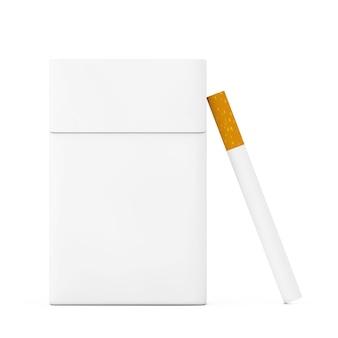 Zigarette in der nähe von mockup blank cigarettes pack auf weißem hintergrund. 3d-rendering