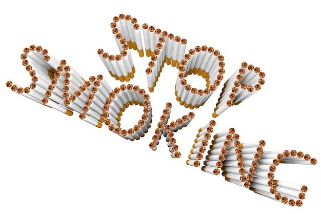 Zigaretten als stop smoking wort auf weißem hintergrund