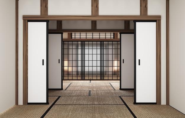 Zimmer im japanischen stil, originelles innendesign. 3d-rendering