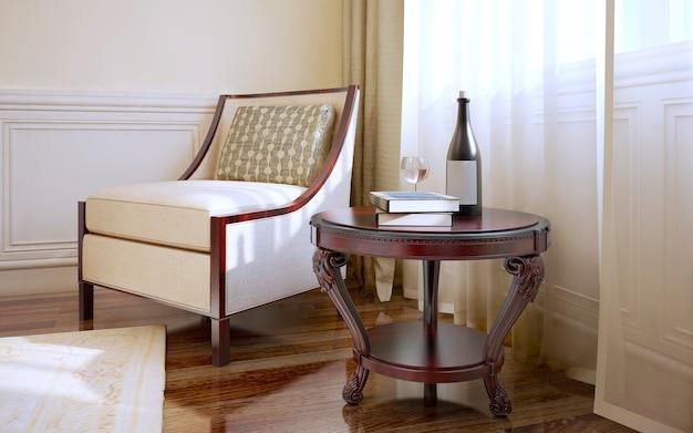 Zimmer im klassischen stil mit sessel und couchtisch aus dunklem holzboden und hellbeigen wänden mit zierleisten und cremefarbenem teppich