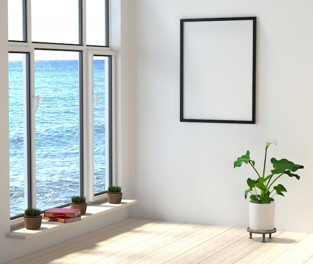 Zimmer mit großen fenstern und meerblick. bücher und blumen in einem stilvollen, hellen raum am strand.