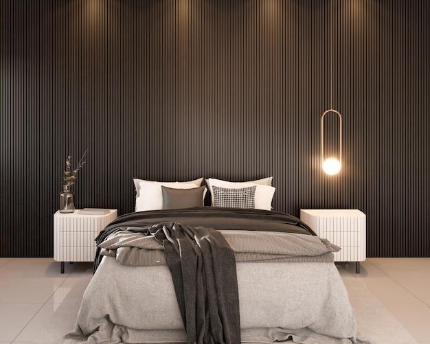 Zimmer mit schwarzer lattenrost wand doppelbett nachttisch teppich dekoration und anhänger 3d-rendering