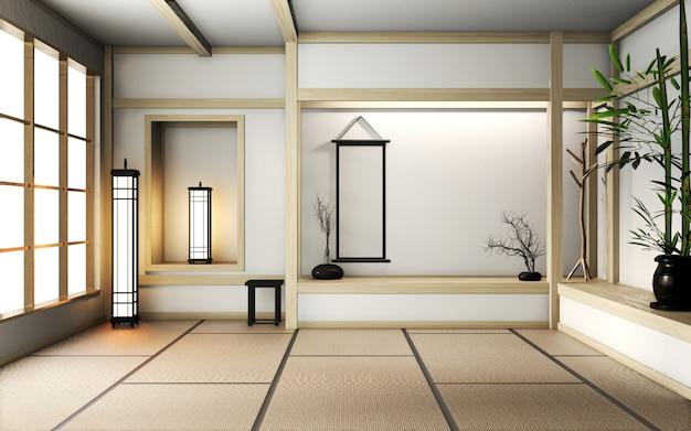 Zimmer sehr zen-stil mit dekoration im japanischen stil auf tatami-matte. 3d-rendering