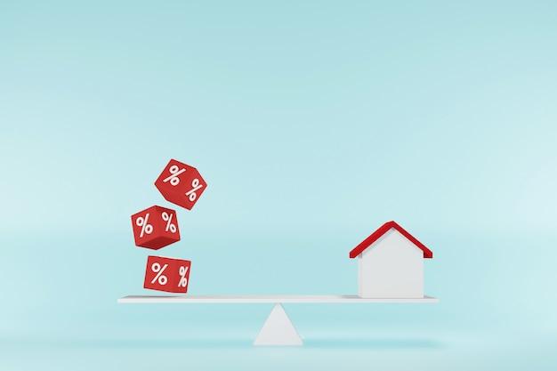Zinskonzept für finanz- und hypothekenzinsen. haus- und würfelblockform mit symbolprozentsatz auf waagen. 3d-darstellung