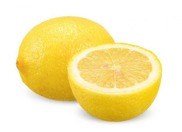 Zitrone getrennt auf weiß mit ausschnittspfad