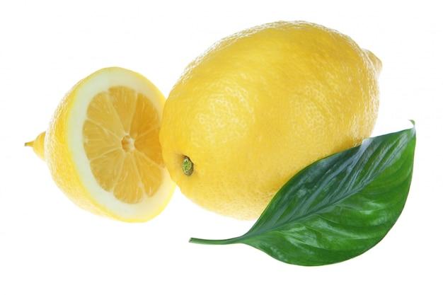 Zitrone schnitt ein blatt an einer weißen wand.