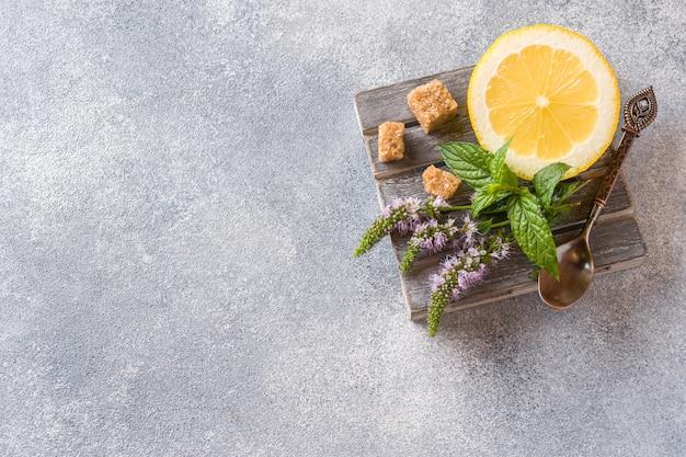 Zitrone und frische minze mit blüten, der braune zucker auf einem grauen