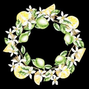 Zitronen, blumen und blätter, aquarellkranz. früchte. illustration