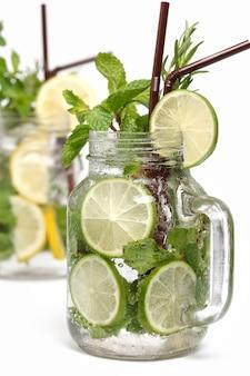 Zitronen-limetten-soda-minze-rosmarin-frischgetränk isoliert