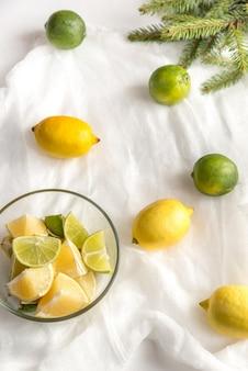 Zitronen und limetten mit tannenzweig