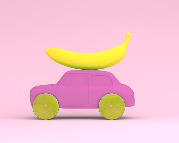 Zitronenfrucht-layoutrad und -banane, autorosa auf rosa hintergrund. minimales essen und obst co