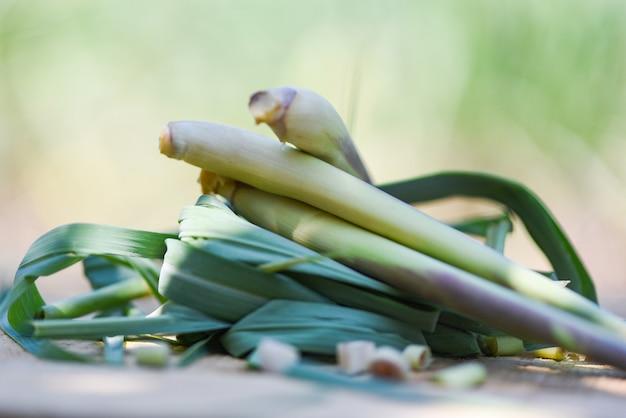Zitronengrasstiel auf hölzernem mit zitronengras verlässt auf natur