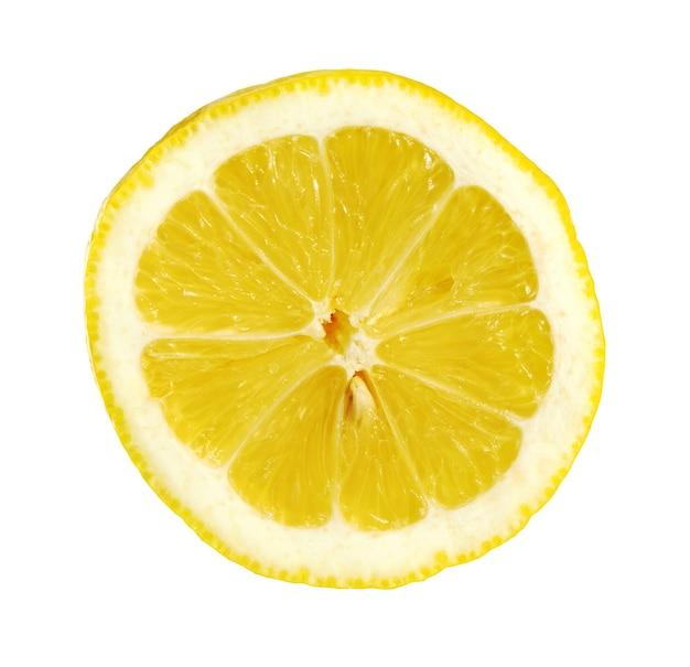 Zitronenscheibe isoliert auf weißem hintergrund. zitrone frucht.