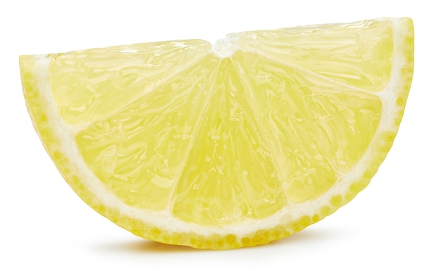 Zitronenscheibe lokalisiert auf weißem hintergrund. zitronenfrucht-beschneidungspfad. qualitätsmakrofoto
