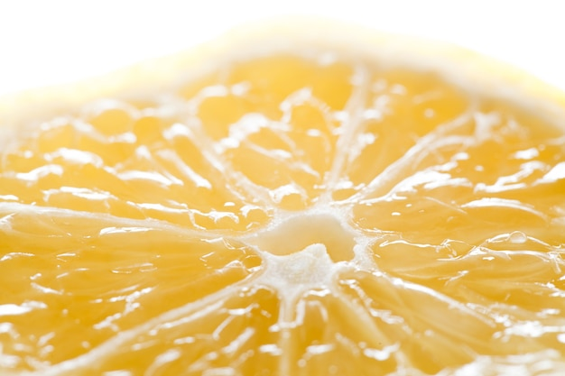 Zitronenschnitt, zitrusfrüchte, kern, makro-nahaufnahme, selektiver fokus