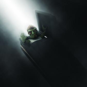 Zombie 3d, der aus einem sarg herauskommt