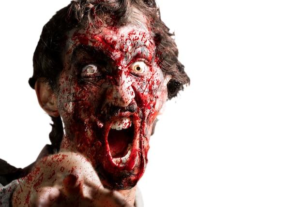 Zombie mit kiefer aus den angeln gehoben