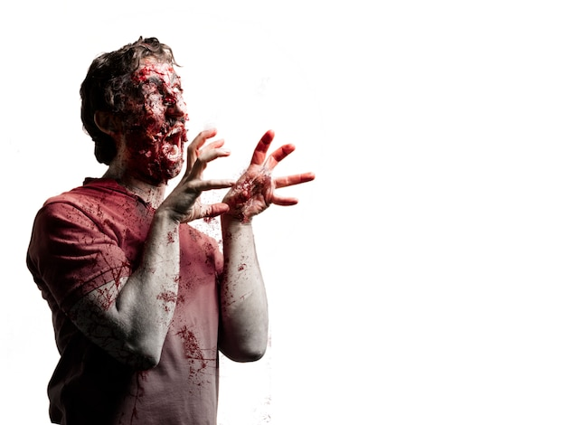 Zombie seite mit den händen oben