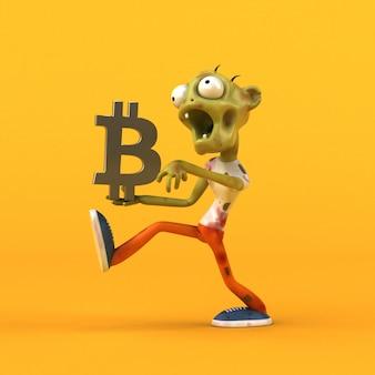Zombie und bitcoin - 3d-illustration