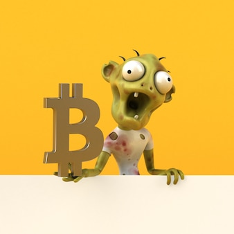 Zombie und bitcoin 3d illustration