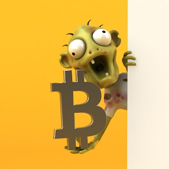 Zombie- und bitcoin-illustration
