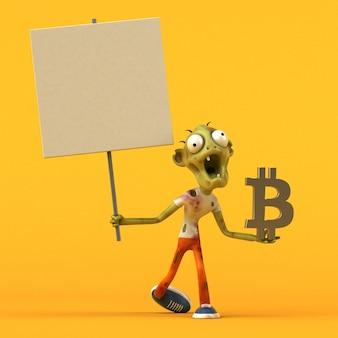 Zombie- und bitcoin-illustration