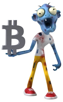 Zombie und bitcoin illustration