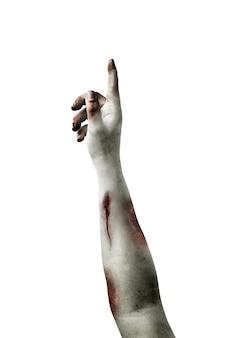 Zombiehände mit wunde isoliert auf weißem hintergrund