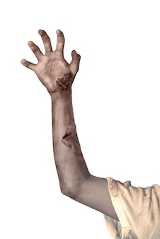 Zombiehand getrennt über weißem hintergrund