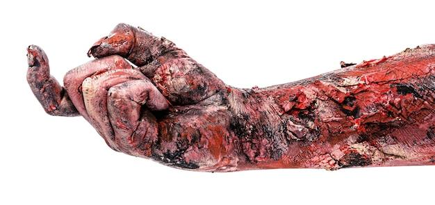 Zombiehand im einladungsmanagement, zeigefingeranrufe, isolierte weiße oberfläche.