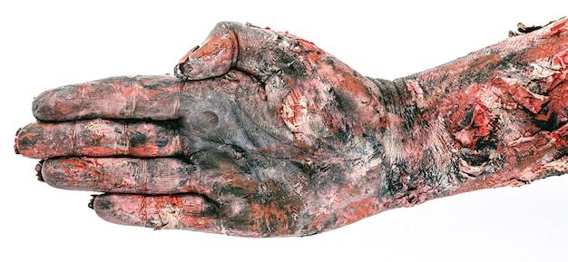 Zombiehand in stop-geste, geschlossene hand, halloween-thema