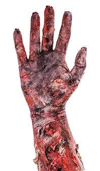 Zombiehand mit fünf fingern, offene hand, isolierte weiße oberfläche, halloween-hand.