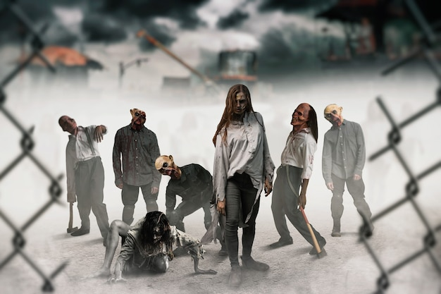 Zombies auf der baustelle, monster wurden lebendig. horror in der stadt, gruseliger krabbeltierangriff, weltuntergangsapokalypse