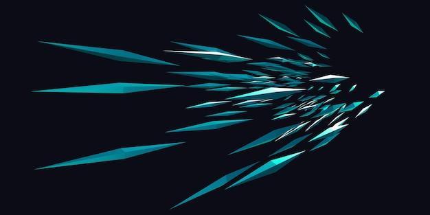 Zoom design explosion von scharfen linien und dreieckigen licht 3d illustration