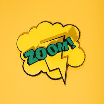Zoom-phrasen-karikaturausdruckillustration auf spracheblase gegen gelben hintergrund